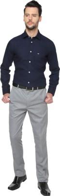 Manhattan Men's Solid Casual Blue Shirt