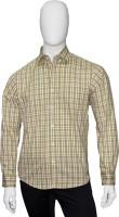 Cotton Natural Formal Shirts (Men's) - Cotton Natural Men's Checkered Formal Green Shirt