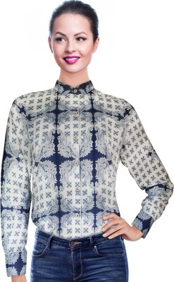 Before After Women,s Paisley Casual Dark Blue, White Shirt