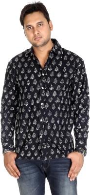 Rajrang Men's Floral Print Casual Black Shirt