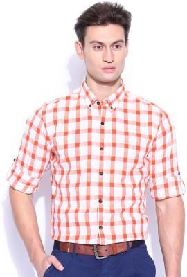 Mast & Harbour Men's Checkered Formal White, Orange Shirt