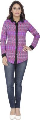 Alfa Fashion Women's Geometric Print Casual Pink Shirt