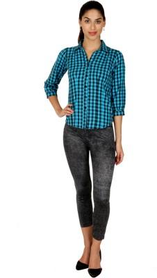 Blimey Women's Checkered Casual Blue, Black Shirt