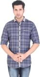 Meraki Men's Checkered Casual Blue Shirt