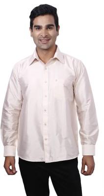 Nanya Men's Solid Casual Beige Shirt