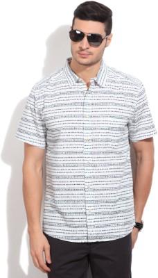 Quiksilver Men's Printed Casual White, Blue Shirt