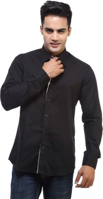 See Designs Men's Solid Casual Black Shirt