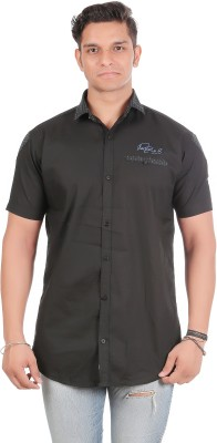 leports Men's Solid Casual Black Shirt