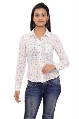 SML Originals Women's Printed Casual White Shirt
