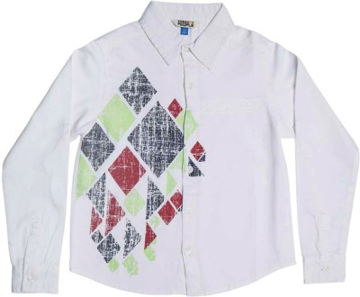 People Boy's Geometric Print Casual White Shirt