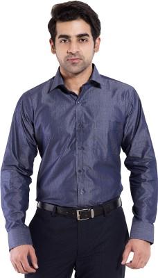 Mild Kleren Men's Self Design Formal Dark Blue Shirt