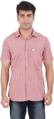 Anytime Men's Striped Casual Red, Grey Shirt