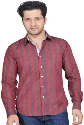 Ubho Core Men's Striped Casual Maroon, Grey Shirt