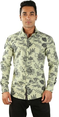 Just Differ Men's Floral Print Casual Yellow Shirt