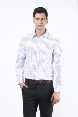 Remo Men's Checkered Formal White, Purple Shirt