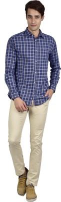 Zid Clothing Men's Checkered Casual Blue Shirt