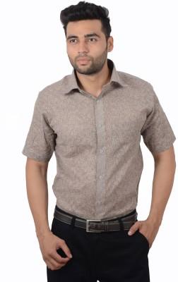 Studio Nexx Men's Solid, Woven Formal Brown Shirt