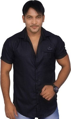 4guys Men's Solid Casual Black Shirt