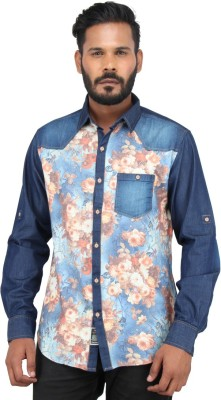 Piazza Italya Men's Floral Print Casual Blue, Multicolor Shirt