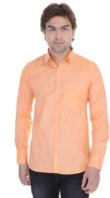 Lee Mark Men's Solid Casual Orange Shirt