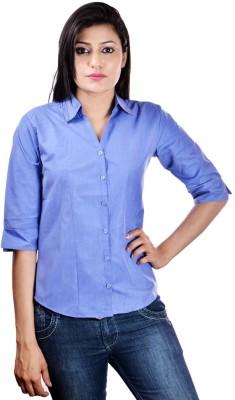 Shop Avenue Women's Solid Casual Blue Shirt