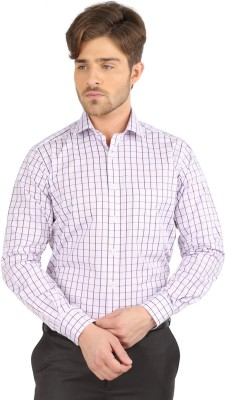J Hampstead Men's Checkered Formal Purple Shirt