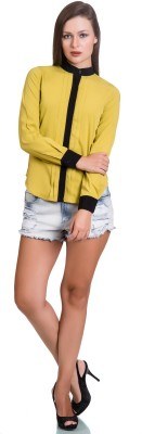 Colbrii Women,s Solid Casual Yellow Shirt