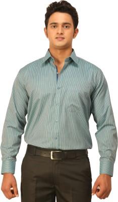 Seven Days Men's Striped Formal Green Shirt