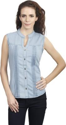 Shopdayz Women's Solid Casual Denim Light Blue Shirt