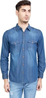 Riot Jeans Men's Embroidered Casual Denim Dark Blue Shirt