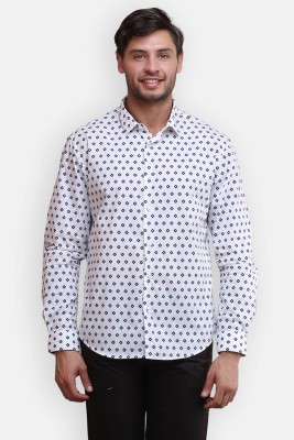 four one oh Men's Printed Formal White Shirt