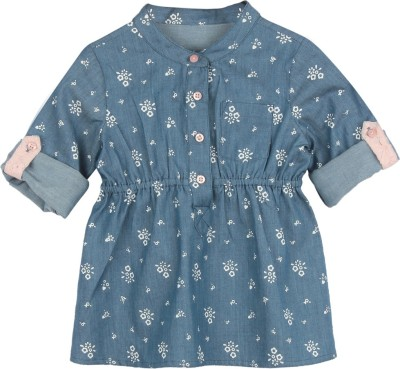 My Lil, Berry Girl's Floral Print Casual Denim Blue Shirt