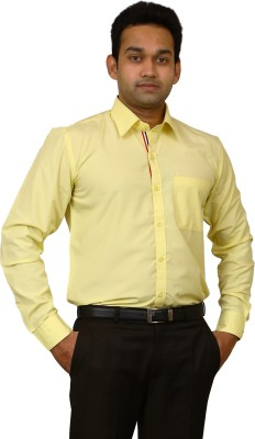 Benzoni Men's Solid Formal Yellow Shirt