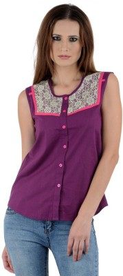 1 For Me Women's Solid Casual Purple Shirt