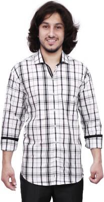 Dave Men's Checkered Casual White, Black Shirt