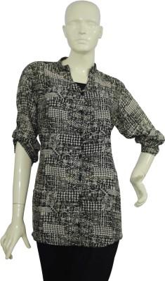 Jupi Women's Self Design Casual Black, White, Grey Shirt