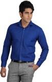 Qpark Men's Solid Formal Linen Blue Shir...