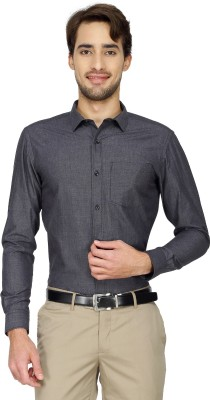 Cotton Power Men's Solid Formal Black Shirt