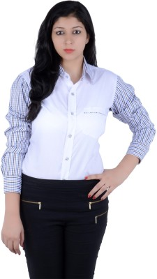 S9 Women's Checkered, Solid Casual White, Blue, Black, Brown Shirt
