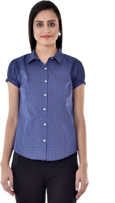Colors Couture Women's Printed Casual Dark Blue Shirt