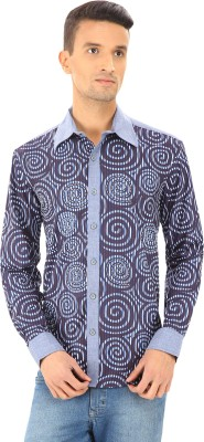 Woodin Men's Printed Casual Blue Shirt