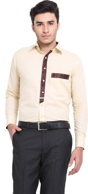 Protext Men,s Solid Casual Linen Yellow Shirt
