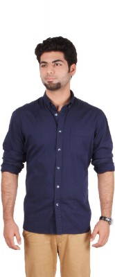 Indian Terrain Men's Solid Formal Dark Blue Shirt