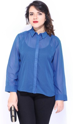 D Muse by DressBerry Women's Printed Casual Blue Shirt