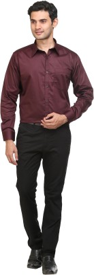 Mister Men's Solid Casual Maroon Shirt
