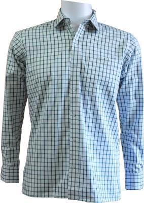 Ardeur Men's Checkered Formal White, Green Shirt