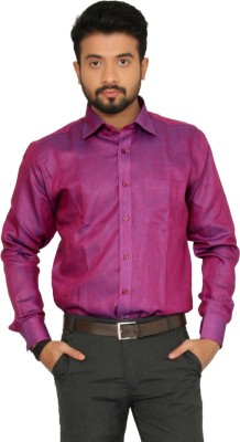 Indian Weller Men's Self Design Casual Maroon Shirt