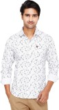 Kiez Men's Printed Casual White Shirt