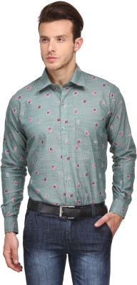 Ausy Men's Printed Casual Green, Pink Shirt