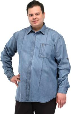 PlusS Men's Solid Casual Light Blue Shirt